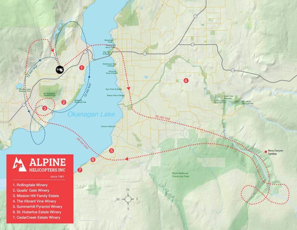 Kelowna Tours Route Map